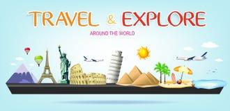 Viaje e explore em todo o mundo a paisagem diminuta ilustração stock