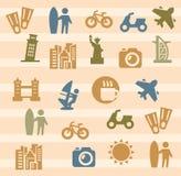 Viaje e iconos de las señales Imágenes de archivo libres de regalías