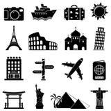 Viaje e iconos de las señales Fotografía de archivo libre de regalías