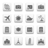 Viaje e iconos de las señales Fotos de archivo libres de regalías