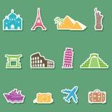 Viaje e iconos de las señales Fotos de archivo