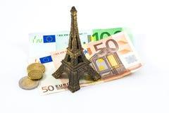 Viaje Eiffel y euros Imágenes de archivo libres de regalías