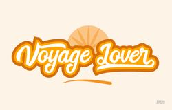 viaje el icono anaranjado del logotipo del texto de la palabra del color del amante ilustración del vector