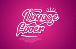 viaje el icono del diseño del rosa de la tipografía del texto de la palabra del amante stock de ilustración