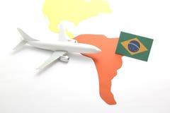 Viaje en aeroplano al Brasil Imagenes de archivo