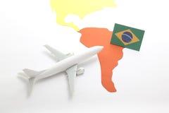 Viaje en aeroplano al Brasil Foto de archivo