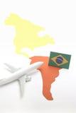 Viaje en aeroplano al Brasil Foto de archivo libre de regalías