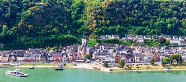 Viaje en Alemania - travesías románticas sobre el río Rhine, Sankt Goa foto de archivo libre de regalías