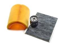 Viaje en automóvili el filtro, el filtro de la cabina y el filtro de aceite Imágenes de archivo libres de regalías