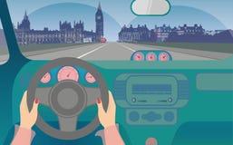 Viaje en coche a Londres stock de ilustración