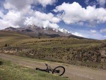 Viaje en declive de Mountainbike Foto de archivo