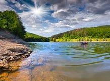 Viaje en el río en canoa Fotografía de archivo
