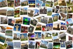 Viaje en Irlanda Collage hecho de polaroides Fotos de archivo