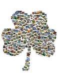 Viaje en Irlanda collage Trébol hecho de polaroides Foto de archivo libre de regalías