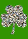 Viaje en Irlanda collage Trébol hecho de polaroides Fotografía de archivo libre de regalías