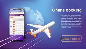 Viaje en línea de reservación de los vuelos Compre el boleto en línea Ilustración del vector ilustración del vector