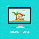 Viaje en línea vía el ejemplo del vector del ordenador, concepto de planear viaje o la reservación en línea del viaje vía la PC,  ilustración del vector