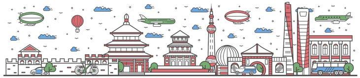 Viaje en la línea bandera plana del país de China del diseño ilustración del vector