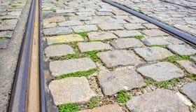 Viaje en tranvía los carriles y las piedras rectangulares y cuadradas de los adoquines con la hierba Imágenes de archivo libres de regalías
