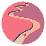 Viaje en un barco de goma rosado inflable Imagen de archivo libre de regalías