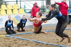 Viaje europeo del balonmano de la playa - finales Salónica 2016 del ebt Fotos de archivo libres de regalías