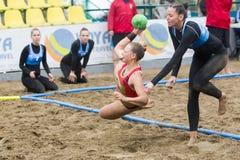 Viaje europeo del balonmano de la playa - finales Salónica 2016 del ebt Imagen de archivo