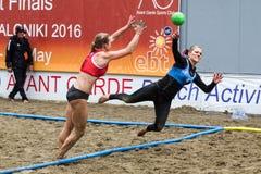 Viaje europeo del balonmano de la playa - finales Salónica 2016 del ebt Fotos de archivo