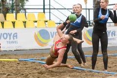 Viaje europeo del balonmano de la playa - finales Salónica 2016 del ebt Imágenes de archivo libres de regalías
