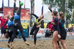 Viaje europeo del balonmano de la playa - finales Salónica 2016 del ebt Foto de archivo