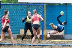 Viaje europeo del balonmano de la playa - finales Salónica 2016 del ebt Fotografía de archivo libre de regalías