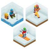 Viaje fijado iconos Ski Ice de las vacaciones de la actividad del invierno Fotos de archivo