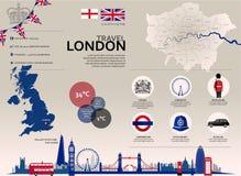 Viaje Infographic de Londres Fotografía de archivo