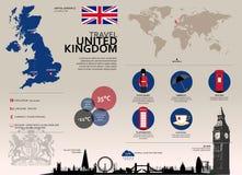 Viaje Infographic de Reino Unido Imágenes de archivo libres de regalías
