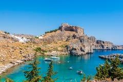 Viaje 2015, isla de Rhodos, Lindos de Grecia Imagenes de archivo