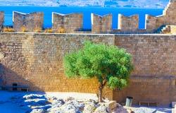Viaje 2015, isla de Rhodos, Lindos de Grecia Foto de archivo libre de regalías