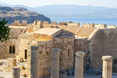 Viaje 2015, isla de Rhodos, Lindos de Grecia Fotos de archivo