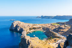 Viaje 2015, isla de Rhodos, Lindos de Grecia, Imagen de archivo libre de regalías