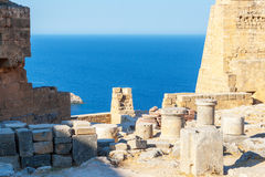 Viaje 2015, isla de Rhodos, Lindos de Grecia Imagen de archivo