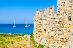 Viaje 2015, isla de Rhodos, parte antigua de Grecia de la ciudad de Rodas Foto de archivo