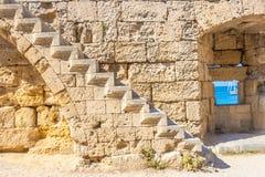 Viaje 2015, isla de Rhodos, parte antigua de Grecia de la ciudad de Rodas Imagenes de archivo