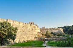 Viaje 2015, isla de Rhodos, parte antigua de Grecia de la ciudad de Rodas Fotos de archivo libres de regalías