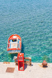 Viaje 2015, isla de Rodas, barco de Grecia Foto de archivo libre de regalías