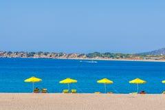 Viaje 2015, isla de Rodas, playa de Grecia Fotos de archivo