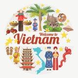 Viaje a la tarjeta de Vietnam con los iconos étnicos vietnamitas ilustración del vector