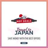 Viaje a las banderas de la plantilla del viaje de Japón para los medios sociales Repartos calientes Las mejores ofertas ilustración del vector