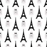 Viaje lindo Eiffel de la historieta con el ejemplo del vector del perfume Modelo inconsútil de los símbolos de París