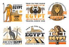 Viaje a los iconos de Egipto, a dioses egipcios y a las vistas libre illustration