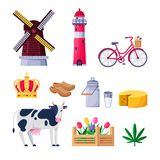 Viaje a los iconos del vector de Holanda y a los elementos del diseño Símbolos nacionales holandeses y señales stock de ilustración