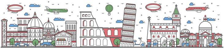 Viaje na linha bandeira lisa do país de Itália do projeto ilustração do vetor