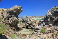 Viaje, naturaleza, Grecia, Creta, Elafonisi, Foto de archivo libre de regalías